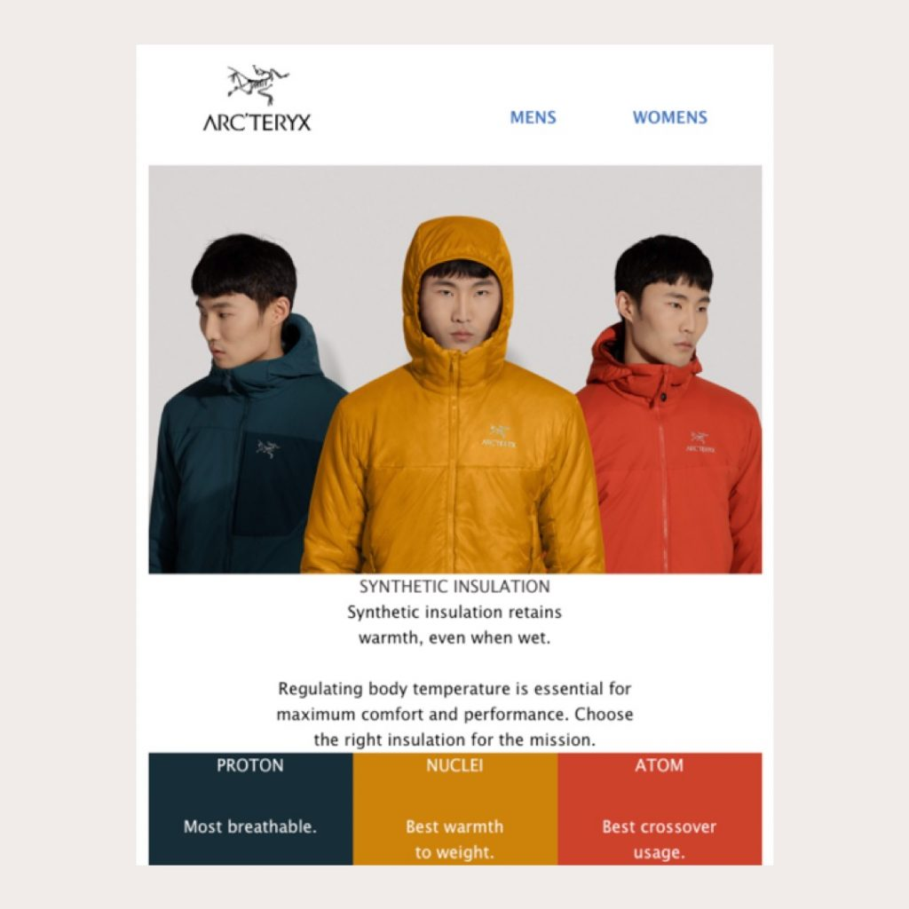 Arc'teryx creates jacket guide by repurposing studio photography and layering studio images