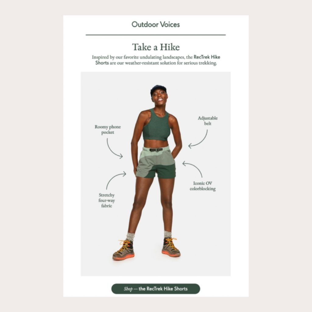 Outdoor Voices highlights product features and benefits educating customers about RecTrek Hike Shorts through repurposed studio photography