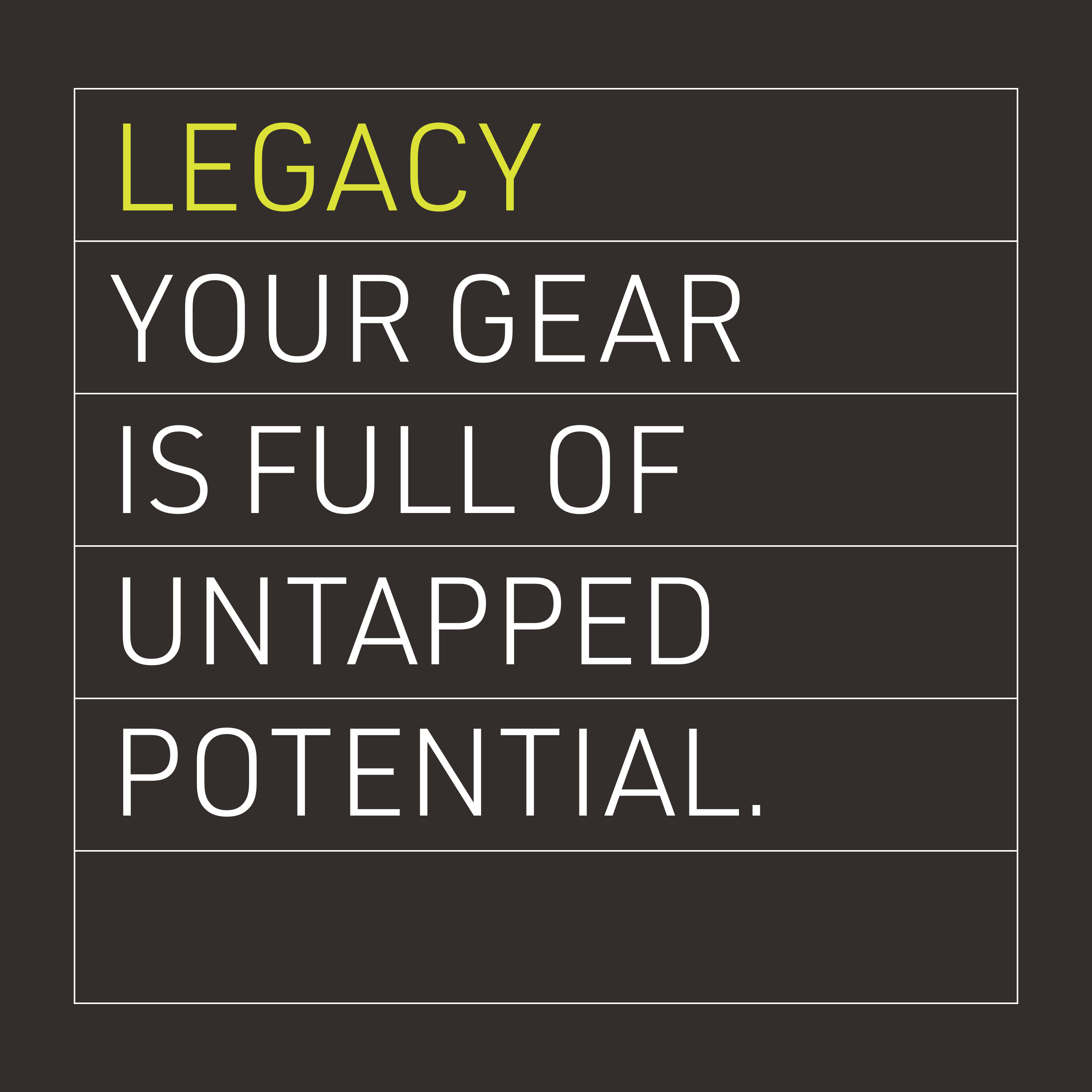 Legacy: Your gear is full of untapped potential
