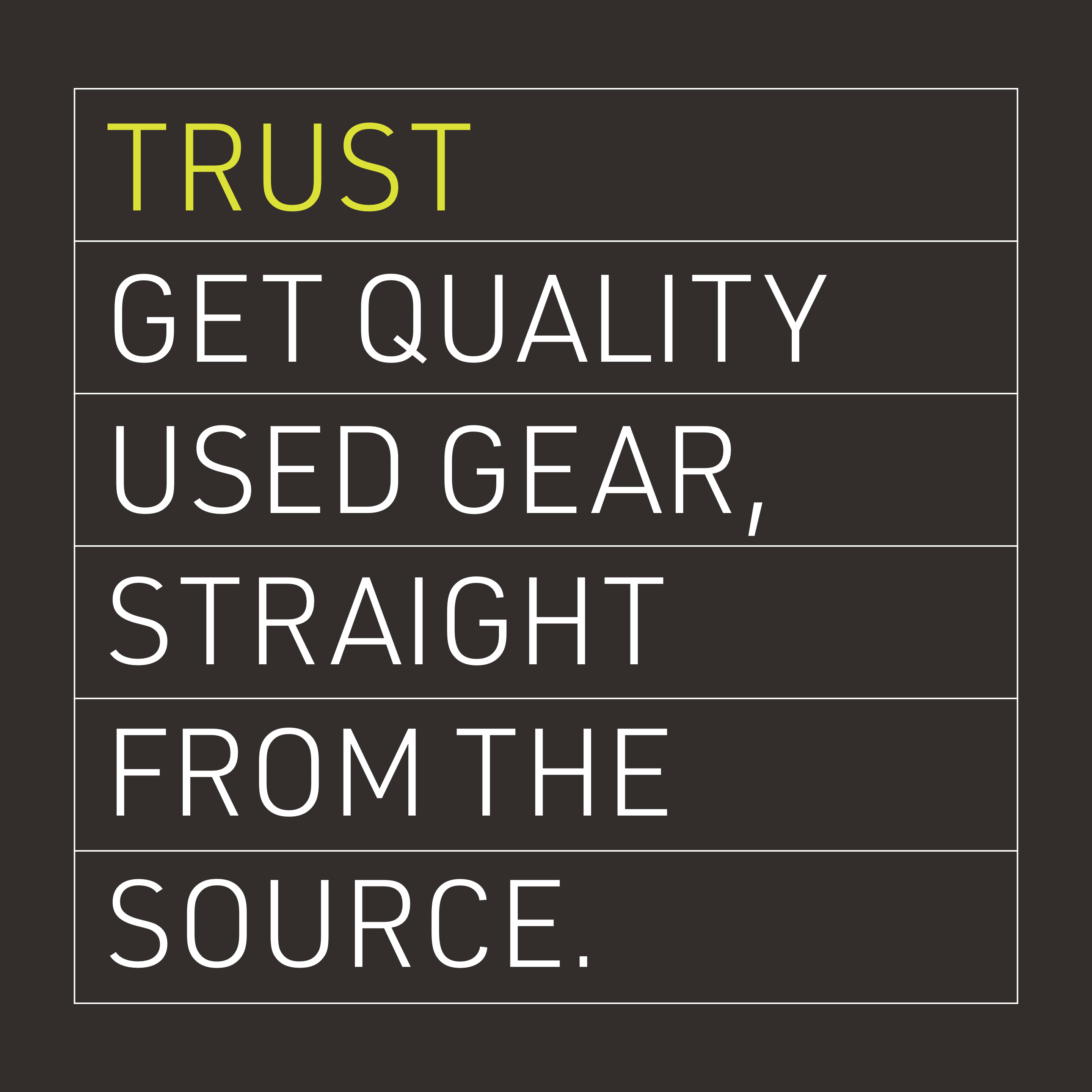 Trust: Get quality used gear, straight from the source