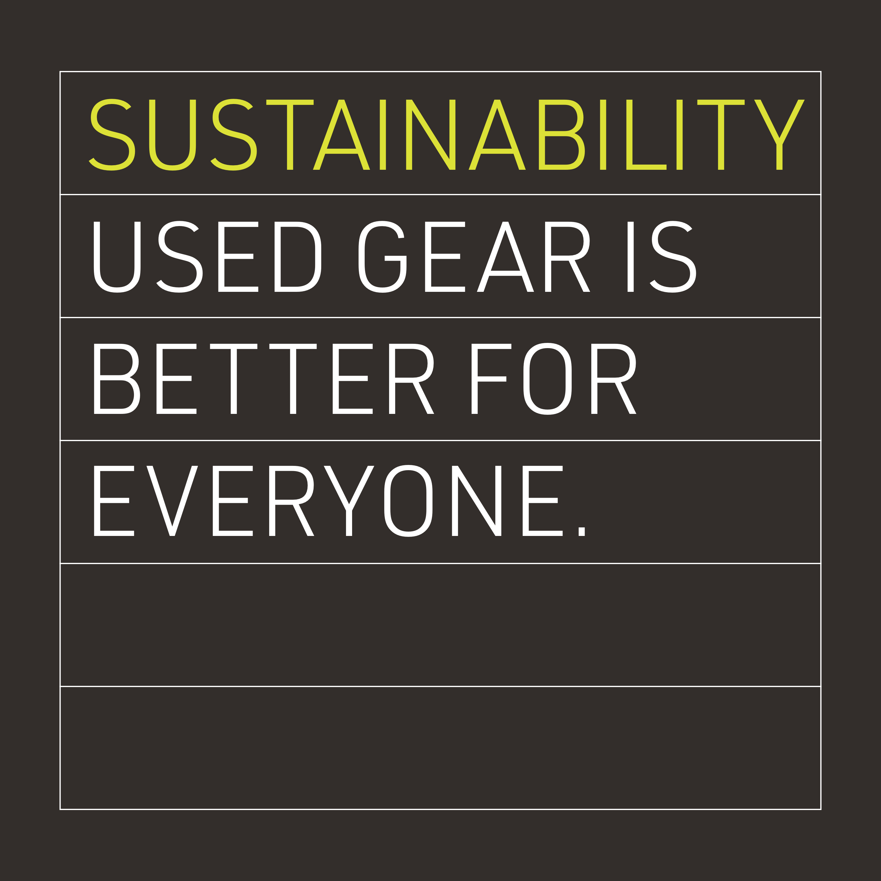 Sustainability: Used gear is better for everyone