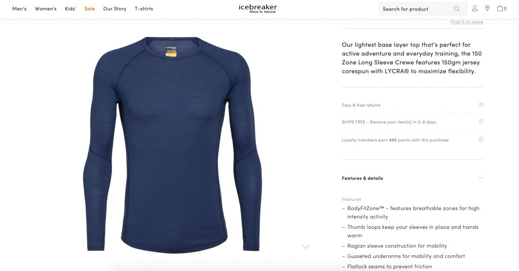 Icebreaker's example of compelling technical product copy on their product description page