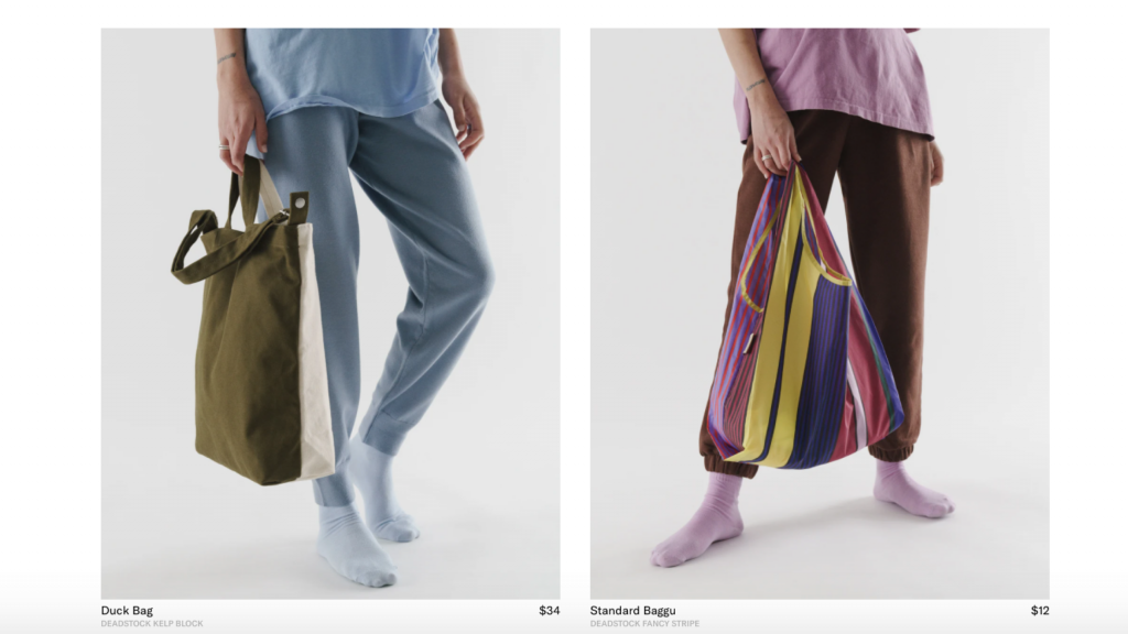 Baggu's reusable tote bags from their limited run Deadstock collection