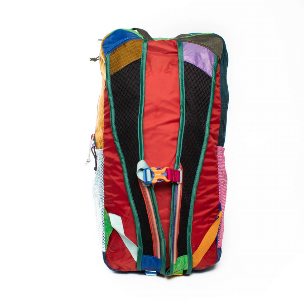 Cotopaxi's patchwork backpack made from left over technical fabric