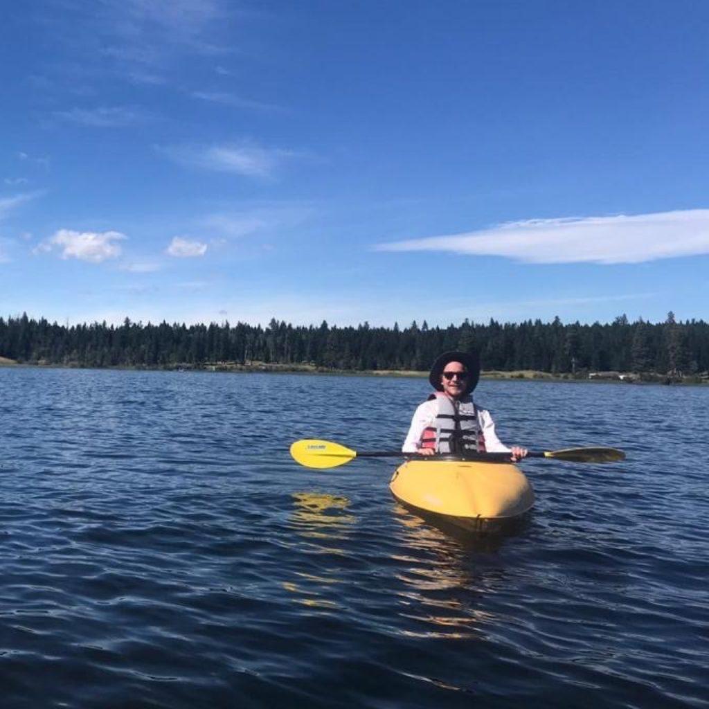 Monday's creative director, Matthew Johnson, kayaking at Peter Hope Lake in British Columbia.