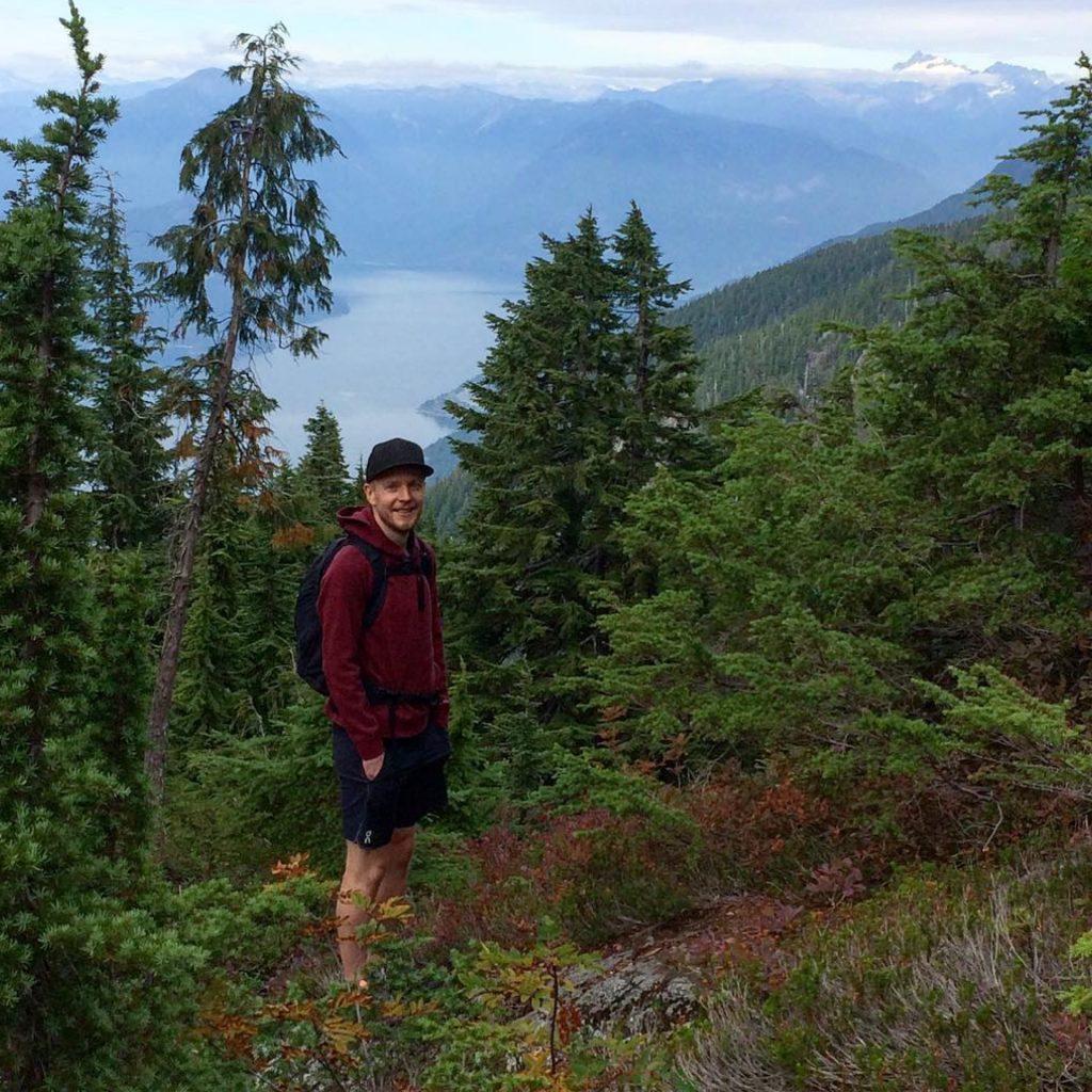 Matthew Johnson, Monday's creative director, hiking Saint Marks Summit in Howe Sound.