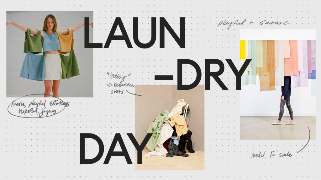 Laundry Day art direction concept moodboard for Flax Home product campaign